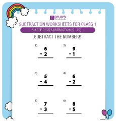 single digit subtraction worksheet 2