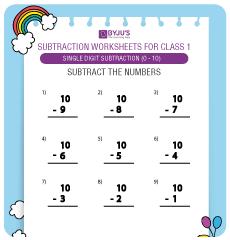 single digit subtraction worksheet 3