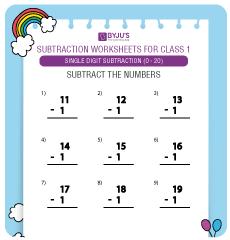single digit subtraction worksheet 4