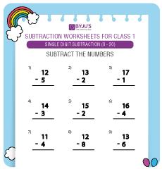 single digit subtraction worksheet 6