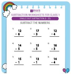 single digit subtraction worksheet 7